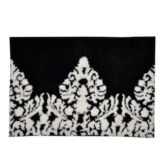Black white damask bath mat overstock shopping the best prices on bath shower mats for Black and white bathroom mats