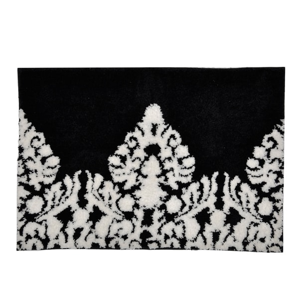 Black White Damask Bath Mat 16095227 Overstock Com
