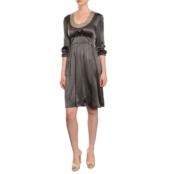 Cynthia Rowley Women's Enchanting 3/4-length Sleeve Grey Silk Cocktail Party Dress