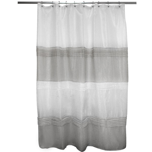 Pleated Grey/ Ivory Stripe Shower Curtain