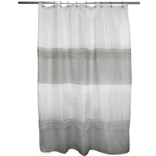 Pleated Grey/ Ivory Stripe Shower Curtain
