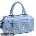 Rhinestone-studded Barrel Satchel Bag