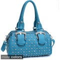 Rhinestone Studded Barrel Satchel Bag