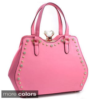 Rhinestone Studded Framed Satchel Bag