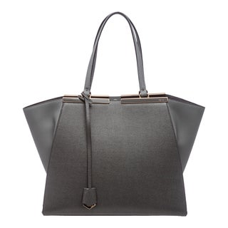 Fendi '3Jours' Grey Leather Shopping Tote
