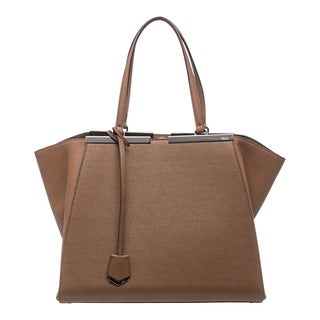 Fendi '3Jours' Tan Leather Shopping Tote