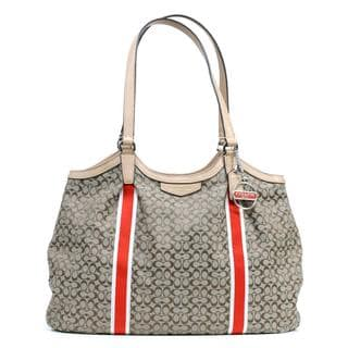 Coach '6CM Devin' Signature Stripe Jacquard Print Shoulder Bag