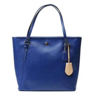 Coach 'Peyton' Navy Leather Zip-top Tote