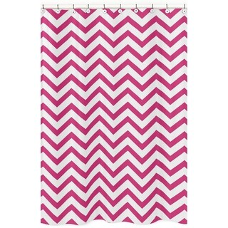 Sweet Jojo Designs Hot Pink/ White Chevron Zigzag Shower Curtain