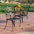 Christopher Knight Home Edgewater Cast Aluminum Black Gold Outdoor Chair (Set of 2)
