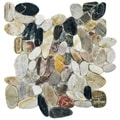 SomerTile Riverbed 11.75-inch Square Multicolored Stone Mosaic Tile (Case of 10)