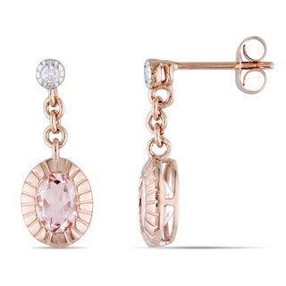 Miadora 10k Rose Gold 1 5/8ct TGW Morganite and Diamond Earrings
