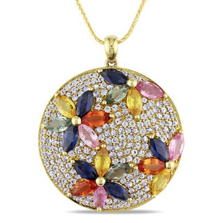 Miadora 14k Yellow Gold 8 3/4ct TGW Multi-color Sapphire Flower Necklace