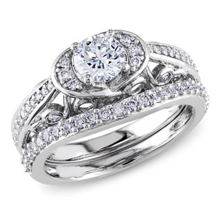 Miadora 14k White Gold 1ct TDW IGL-certified Diamond Bridal Set (G-H, I1-I2)