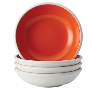 Rachael Ray Dinnerware 'Rise' 4-piece Orange Stoneware Fruit Bowl Set