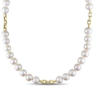 Miadora Signature Collection 14k Yellow Gold Pearl Necklace (10.5-11 mm)