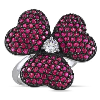 Miadora Sterling Silver Pink and White Cubic Zirconia Ring