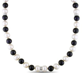 Miadora Signature Collection 14k White Gold Cultured Freshwater Pearl and 5/8ct TDW Diamond Necklace (G-H, I1-I2)