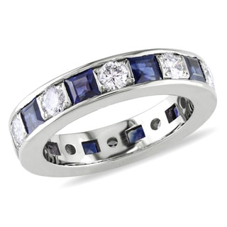 Miadora 18k White Gold Sapphire and 2/5ct TDW Diamond Eternity Ring (G-H, I1-I2)