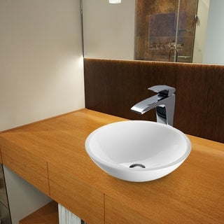 Vigo Flat Edged White Phoenix Stone Glass Vessel Sink and Blackstonian Faucet Set