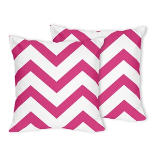 Sweet Jojo Designs Zig Zag Hot Pink and White Chevron Throw Pillows (Set of 2)