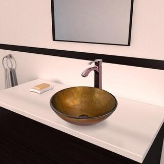 Vigo 'Branco' Glass Vessel Sink and 'Otis' Faucet Set