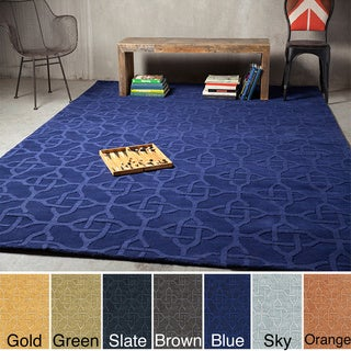 Hand Loomed Fraser Casual Solid Tone-On-Tone Geometric Wool Area Rug (5' x 8')