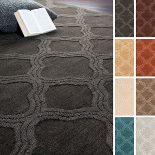 Hand Loomed Bexley Casual Solid Tone-On-Tone Moroccan Trellis Wool Area Rug-(3'3 x 5'3)