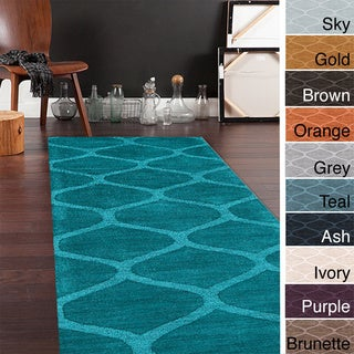Hand Loomed Brea Casual Solid Tone-On-Tone Moroccan Trellis Wool Area Rugs (2'6 x 8')