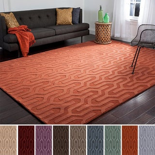 Hand Loomed Drome Solid Tone-On-Tone Geometric Wool Area Rug (8' x 11')