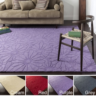 Hand Loomed Nyssa Casual Solid Tone-On-Tone Floral Wool Area Rug (8' x 11')