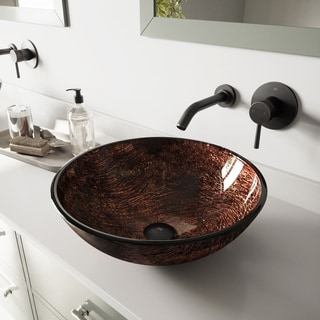 Vigo Kenyan Twilight Glass Vessel Sink and Olus Wall Mount Faucet Set
