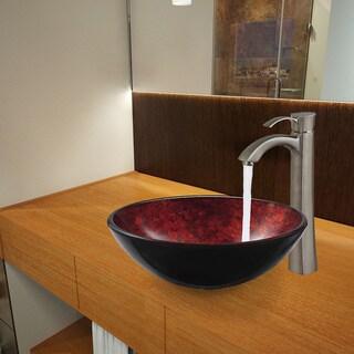 Vigo Terrassa Glass Vessel Sink and Otis Brushed Nickel Faucet Set