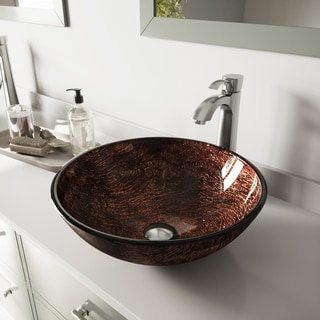 Vigo Kenyan Twilight Glass Vessel Sink and Otis Brushed Nickel Faucet Set