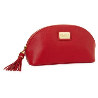 Morelle Miriam Saffiano Red Leather Cosmetic Bag