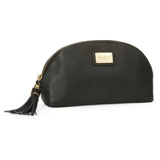 Morelle Miriam Saffiano Black Leather Cosmetic Bag