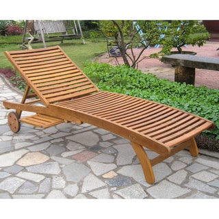 International Caravan Stained Acacia Chaise Lounge with Pull-out Tray