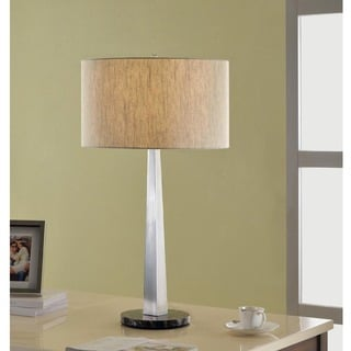 Artiva USA Luxor Contemporary 32-inch Square-tapered Brushed Steel Table Lamp with Marble Base and Rounded Tan Shade