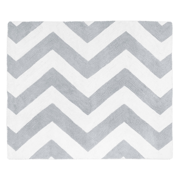 Sweet Jojo Designs Grey/ White Chevron Floor Rug