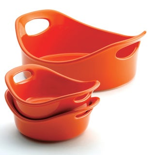 Rachael Ray Orange 3-piece Small Round Bubble & Brown Stoneware Set