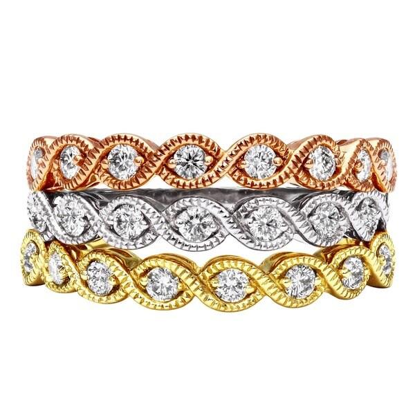 Beverly Hills Charm 14k Gold 1/4ct TDW Millgrain Vintage Diamond Band Ring (H-I, I2-I3)