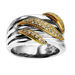 Sonia Bitton Sterling Silver and 14k Gold 1/10ct TDW White Diamond Ring (H-I, SI1-SI2)