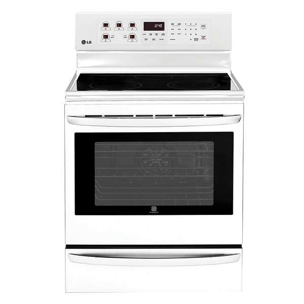LG LRE6325SW White Double Oven Electric Range with True Convection and Infared Grill