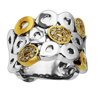 Sonia Bitton Sterling Silver/ 14k Yellow Gold 1/6ct TDW Diamonds (H-I, SI1-SI2)