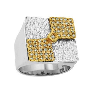 Sonia Bitton 14k Yellow Gold/ Sterling Silver 3/8ct TDW Diamond Designer Two-tone Ring (H-I, SI1-SI2)