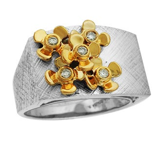 Sonia Bitton 14k Gold/ Sterling Silver 1/8ct TDW Diamond Designer Floral Two-tone Ring (H-I, SI1-SI2)