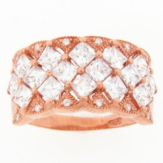 Pink Plated Sterling Silver Fancy Cubic Zirconia Band