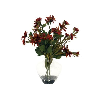 Straw and Dahlia Glass Vase Silk Arrangement