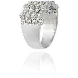 Icz Stonez Sterling Silver CZ Four-row Wave Ring