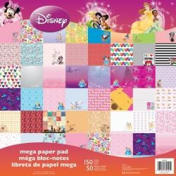 Disney Mega Paper Pad 12 X12 150/Sheets - Girl, 50 Designs/3 Ea